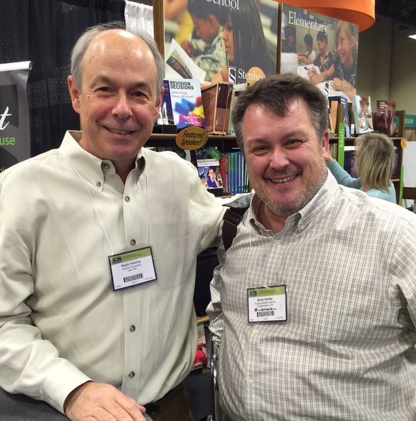 Stopping by the Stenhouse booth to grab a photo with Ralph Fletcher, my mentor-through-text,at the 2016 NCTE Annual Convention in Minneapolis, MN.