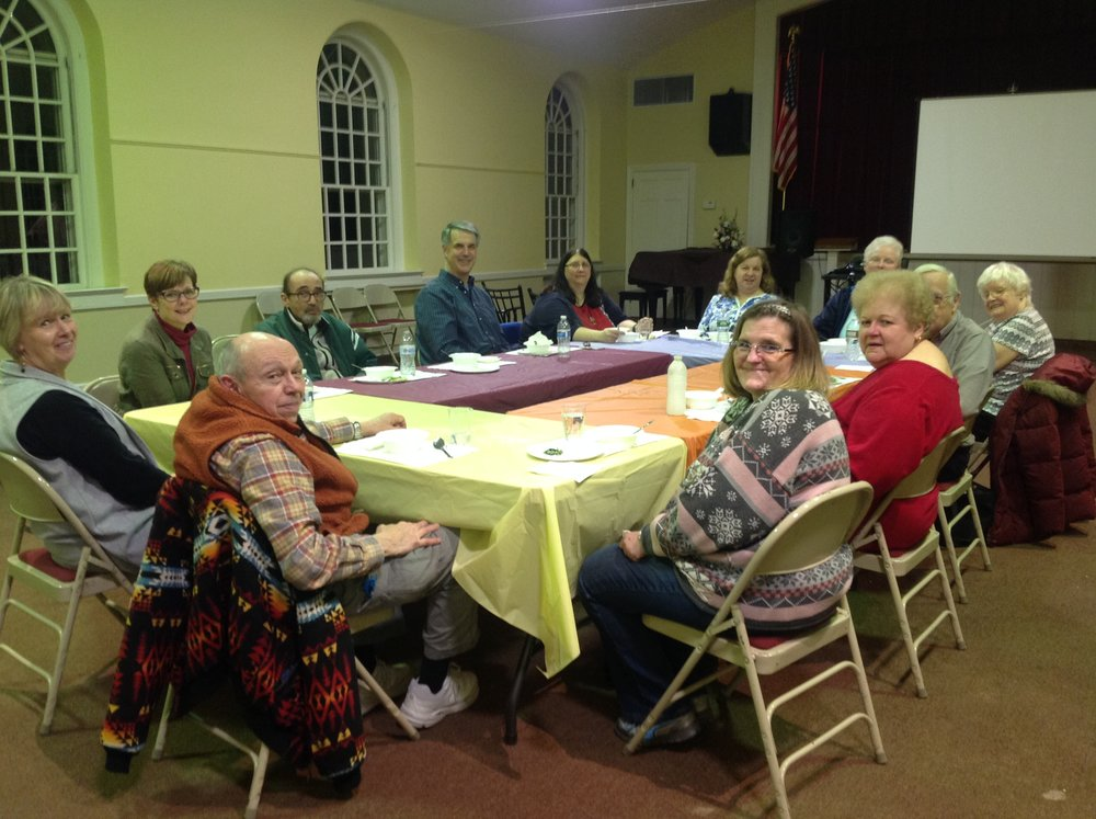 "The first Lenten Soup Supper of 5 to be held every Monday evening from February 19 thru to March 19. This particular evening 12 disciples met to enjoy simple soup, salad, bread and dessert dinner, followed by the first part of the movie ""The Gospel of John."""