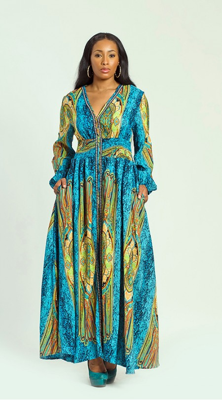 Plus Size Maxi Long Sleeve Print Dress — Shavarn Smith