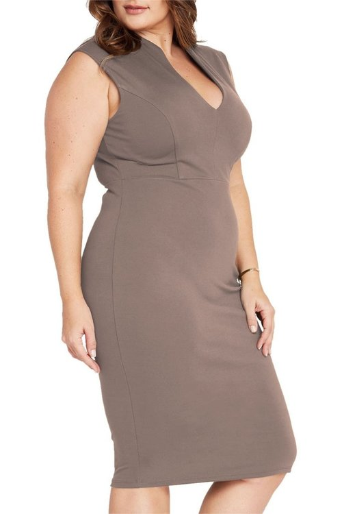 Mocha Deep V Neck Body Con Dress-Plus Size — Shavarn Smith