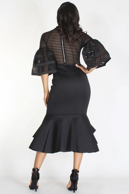 Black Mermaid Dress Dramatic Peplum Skirt Shavarn Smith