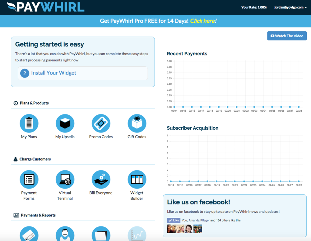 The navigation icons are visible once you log into PayWhirl. The icons are located on the left.