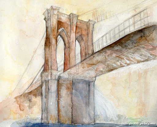 "Brooklyn Bridge with Waterfall 9x 12"" (framed print available at show)"