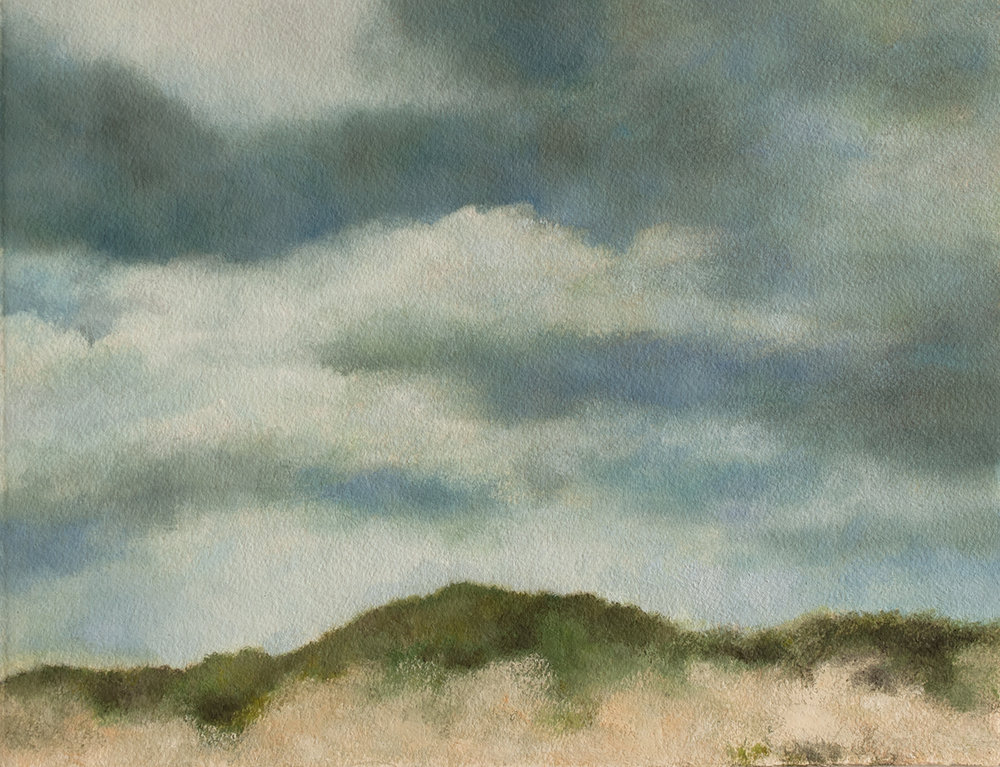 "Fire Island Dunes, 13 x 10"" oil on paper, 2017"