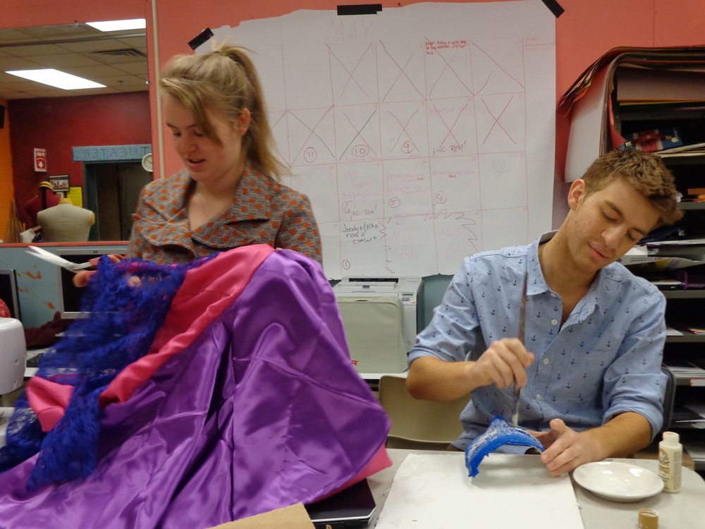 Amanda Mandarolla and Bowen Abbey making costumes at A.R.T.