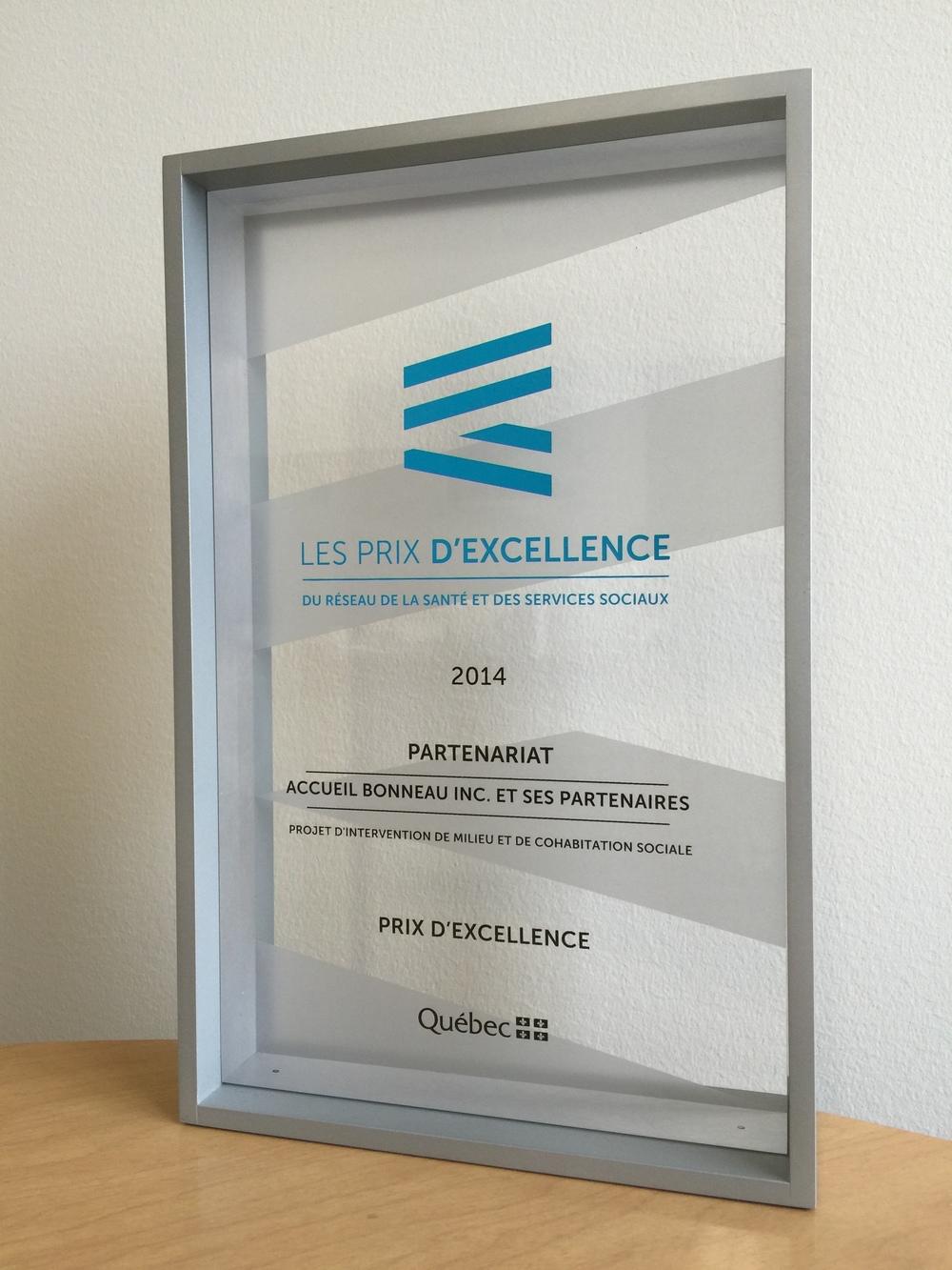 PRIX D'EXCELLENCE   DU MSSS CATÉGORIE  «PARTENARIATS»
