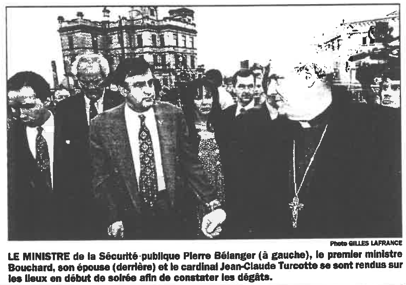 - «Le travail de l'Accueil Bonneau est remarquable et permet de remettre ses gars sur la route de l'autonomie. Grâce à la solidarité hors du commun dont ont fait preuve les citoyens, les secteurs public et privé, l'organisme peut poursuivre ses activités si importantes pour la cohésion sociale à Montréal», Lucien Bouchard, ancien premier ministre du Québec, en poste au moment de l'explosion.
