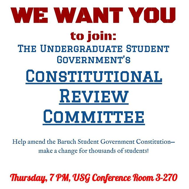 Are you interested in joining the newly formed Constitutional Review Committee? Stop by their first meeting today at 7pm!