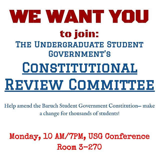 Come to one of the TWO meetings for the Constitutional Review committee if you want to amend the USG Constitution! Meeting Monday 3/5 @ 10AM / 7PM in the USG Conference Room.