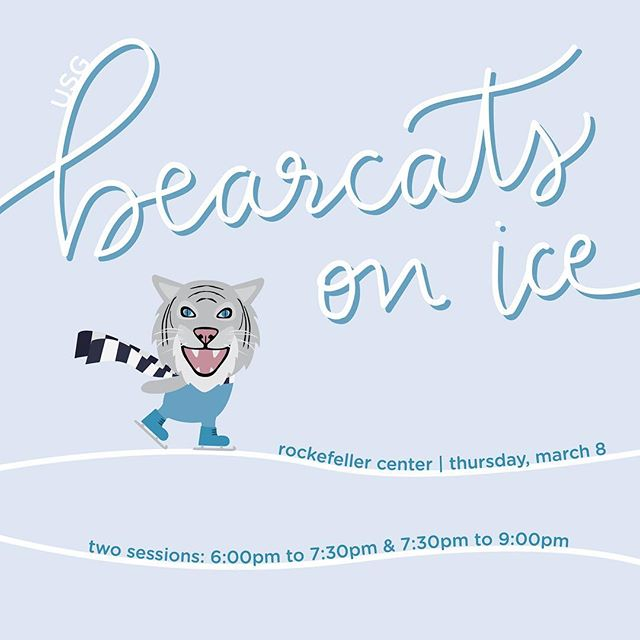 Today is the day! Make sure to come to Rockefeller at the time allotted on your ticket to enjoy Bearcats on Ice!!