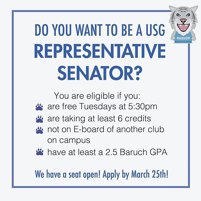 Are you passionate about making a difference on campus? Would you like to work firsthand on new initiatives? Well now is your chance! We have an opening for Representative Senator! Apply at the link in our bio if you are interested in joining USG.