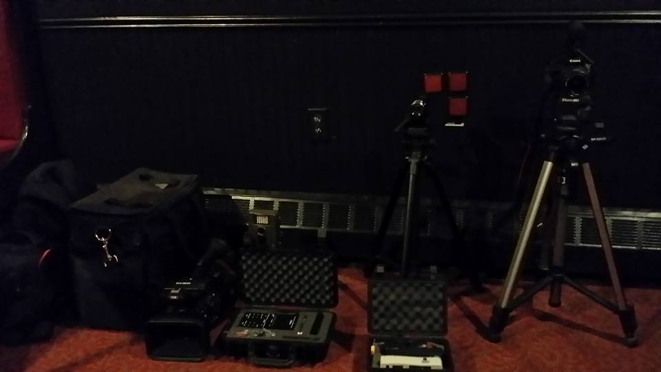 A portion of our gear in a private dining room of Resto Urban shortly after arriving on site and getting a tour of the building.