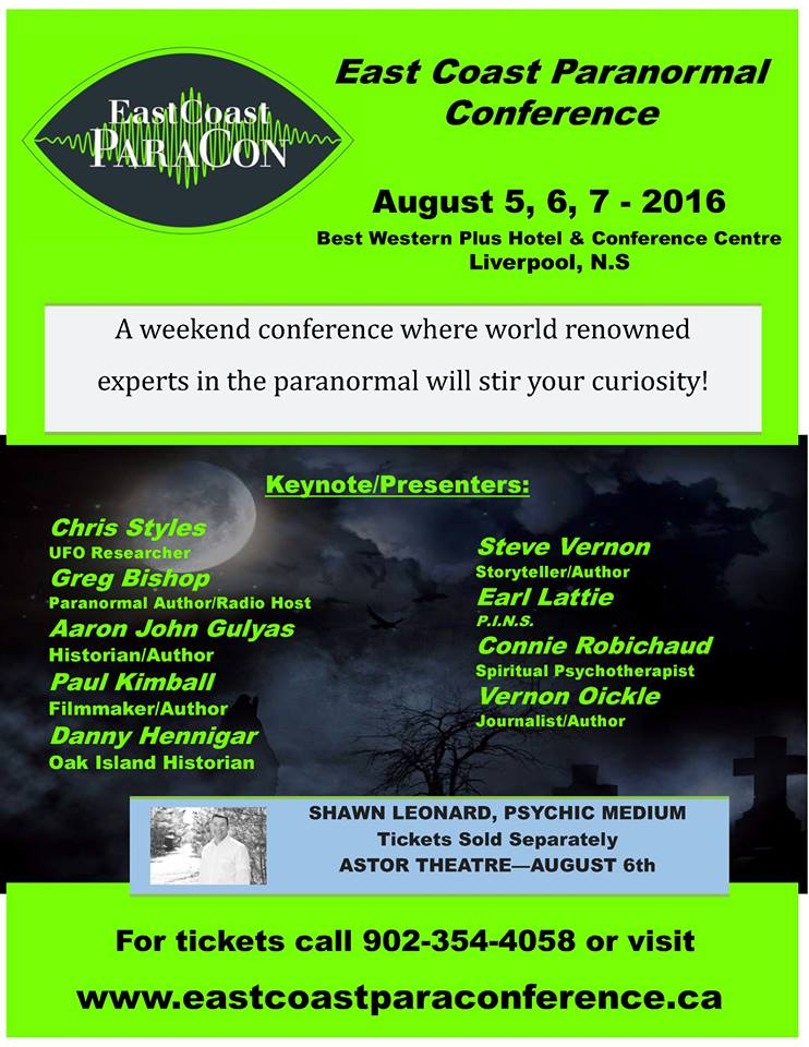 East Coast Para-Con 2016 flyer - see website for timings