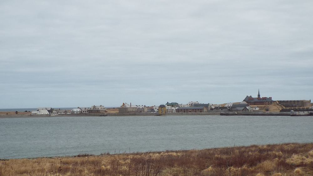 The Fortress of Louisbourg, as seen from the access road leading to the staff entrance to the fortress.