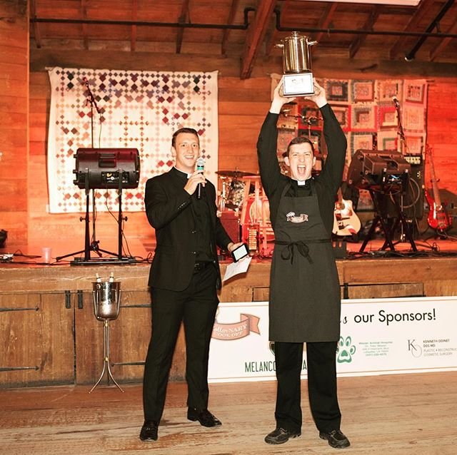 WINNER! 1st people's choice of BEST GUMBO goes to Fr. Rene Pellessier! #collarnarycookoff #stirthepot17