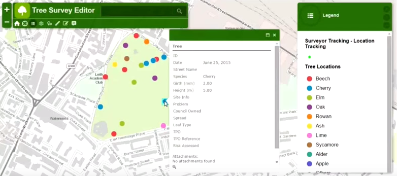 Figure 2 - A Web App providing a tree survey capability