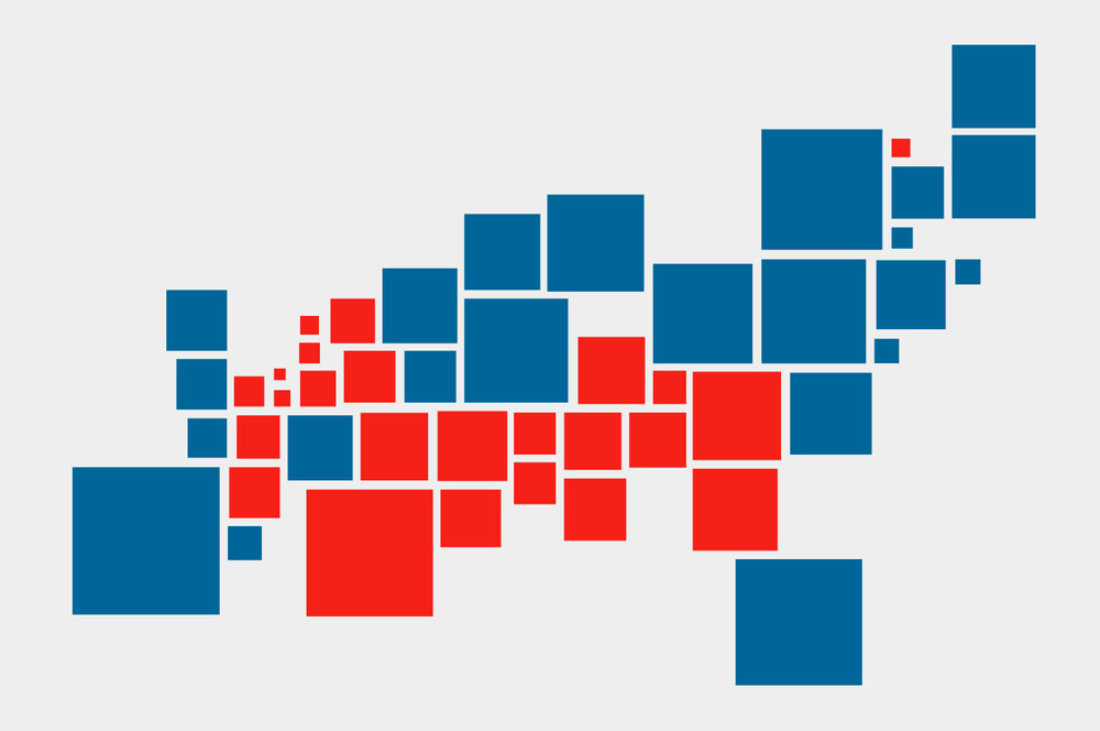 Demers Cartogram - 2012 Presidential election results