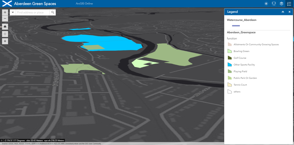 An example of the legend in a 3D app showing green spaces in Aberdeen
