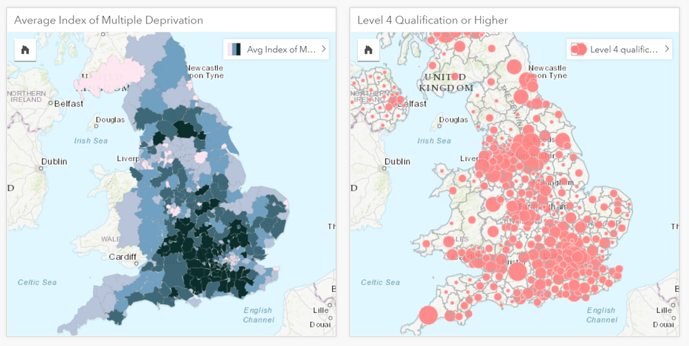 The left card shows the multiple deprivation score and the right card the level 4 qualification or higher values.