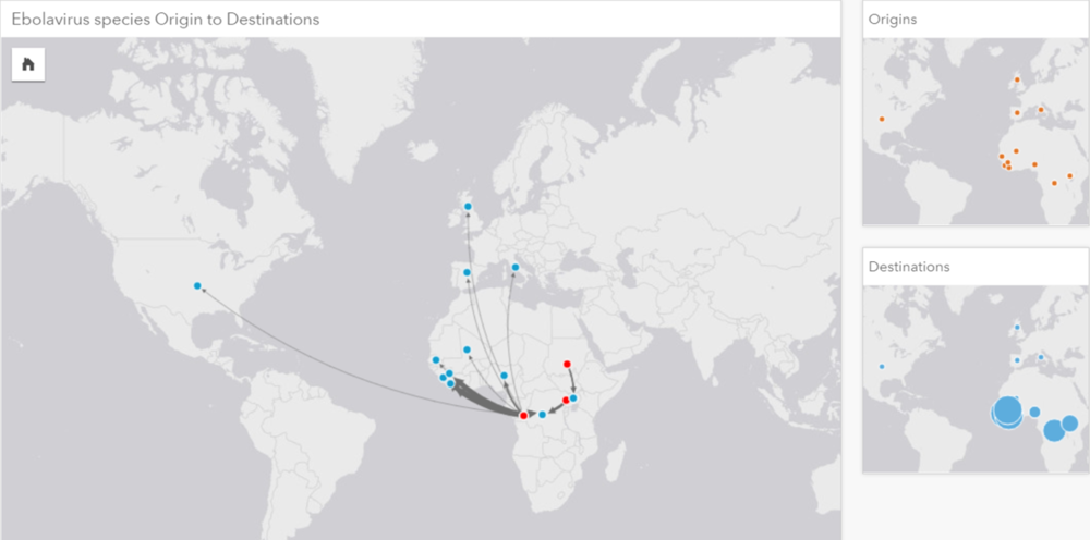 a link map showING the Geographic origins of The disease species (Red) and the outbreak locations (Blue).