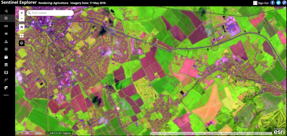 sentinel-2 explorer app. rendering agricultural imagery,