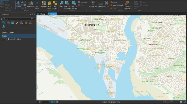 OS Outdoor style loaded into ARcGIS Pro