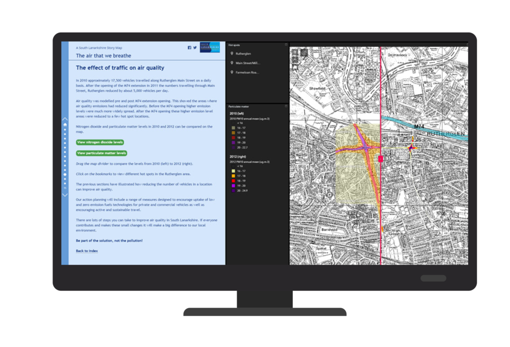 A page from the South Lanarkshire Story Map, showing how the building of a motorway has reduced air pollution in Rutherglen by diverting traffic from the town centre
