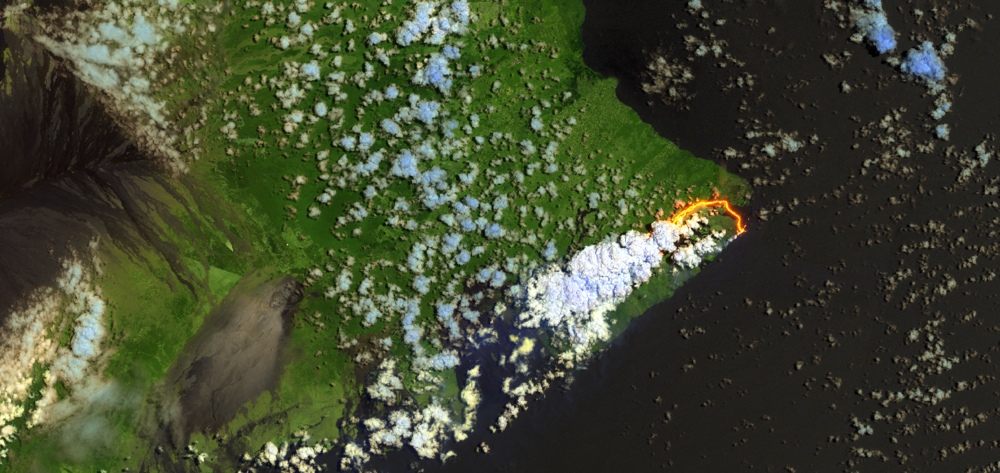 Shortwave infrared RENDERING can provide a much clearer visualisation and understanding of CATASTROPHIC events. LAVA HOTTER THAN 900 CELSIUS glows red in visible wavebands, however at cooler TEMPERATURES can become INDISTINGUISHABLE from rock. THIS SHORTWAVE INFRARED WAVEBANDS CAPTURED BY SENTINEL-2 CAN DISTINGUISH LAVA FROM ROCK AT COOLER TEMPERATURES.