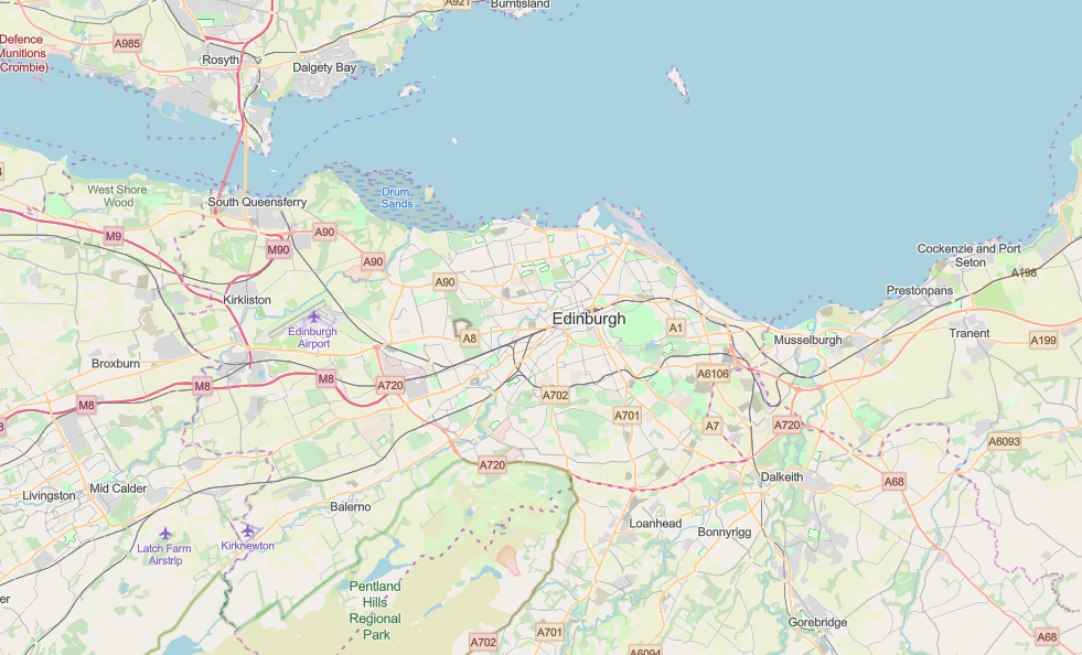 Area of Interest in Edinburgh using the OpenStreetMap Basemap.