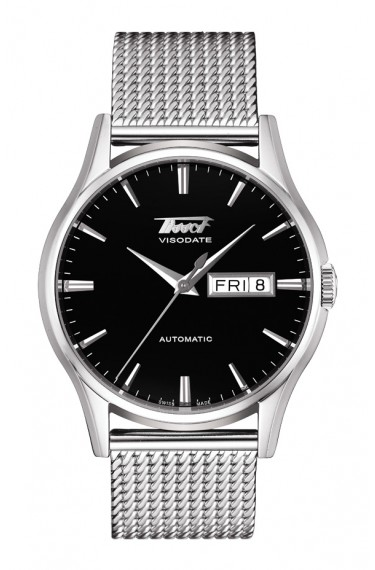 The Tissot Visodate Black Dial Automatic watch with a steel mesh band