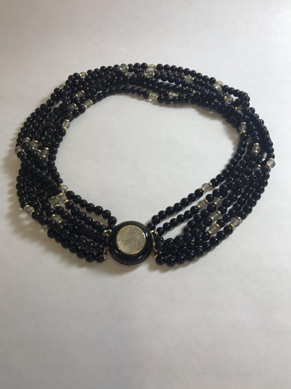 vintage onyx moonstone yg necklace 7 anniversary.JPG
