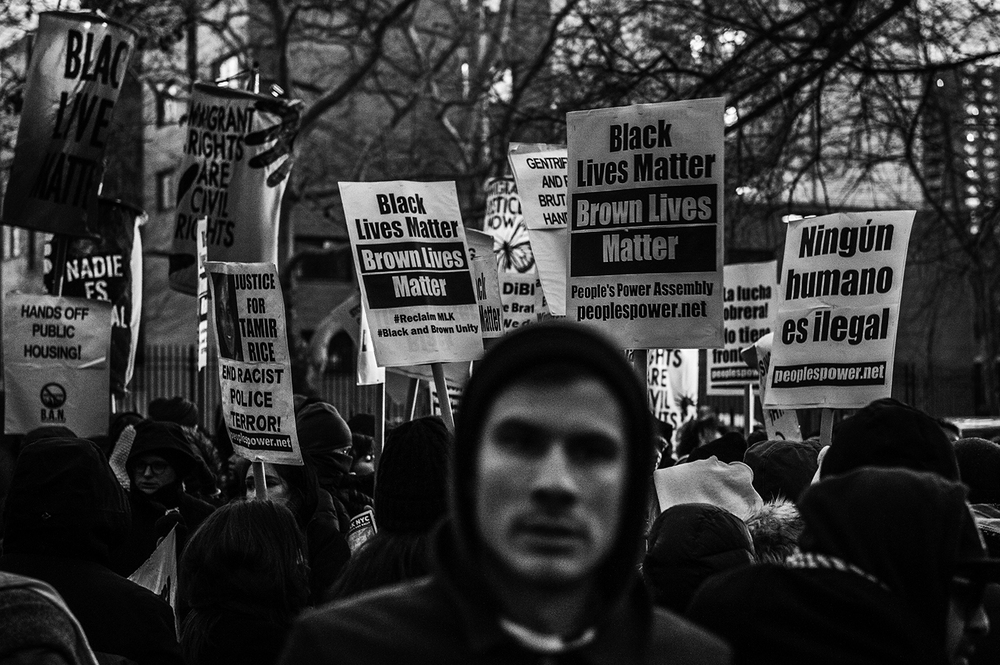 anti-police brutality demonstrators in Brooklyn, NY. 2016   ©    Go Nakamura     photography