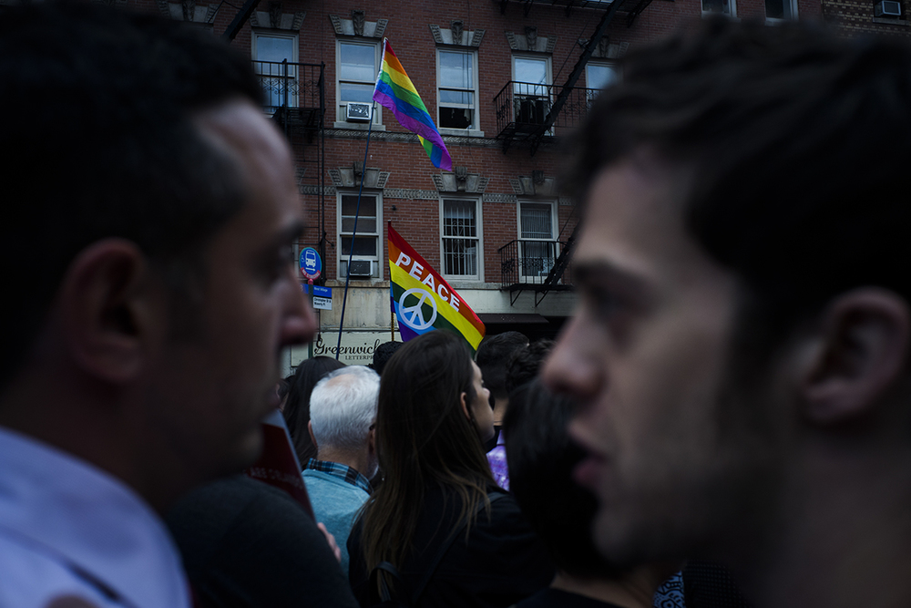 thousands of people gathered outside of Stonewall Inn for the vigil in honor of the victims of the attack on a night club in Orlando,FL.  Manhattan, NY. Go Nakamura/Redux
