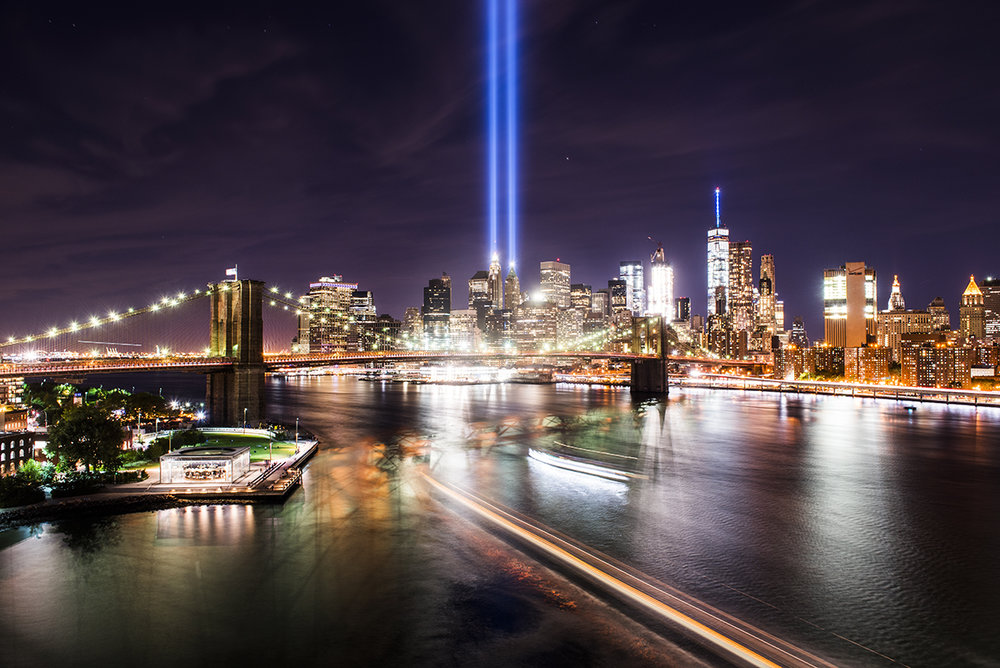 view of 9.11 memorial lights from Manhattan Bridge. Manhattan, NY. 2016 ©Go Nakamura photography