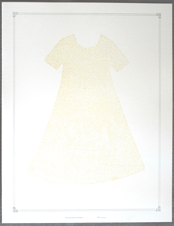 Letterpress dress print, 14 1/2 x 11 inches