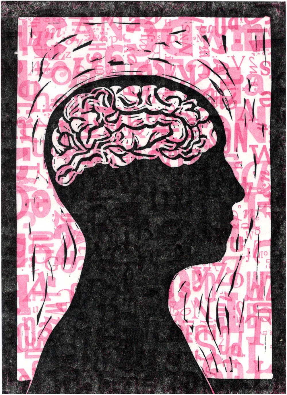 Filter  , letterpress and linoleum cut on paper. The pink letters in the background were printed from the metal type shown above.