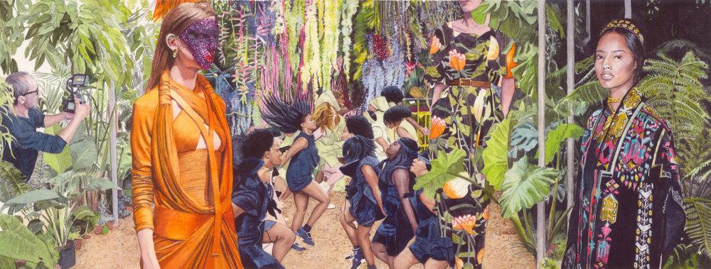 Défilé 01 aquarelle sur papier 17x45cm collection particulière