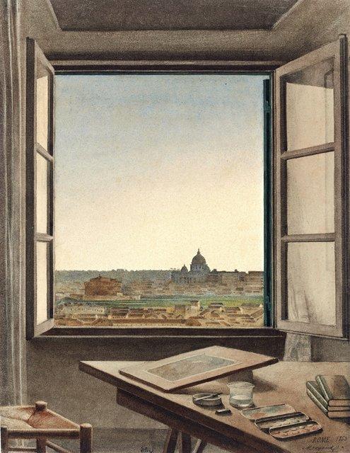 """""""Vue de Rome de la chambre de l'artiste"""" Aquarelle sur papier, Constant Moyaux, 1863"""