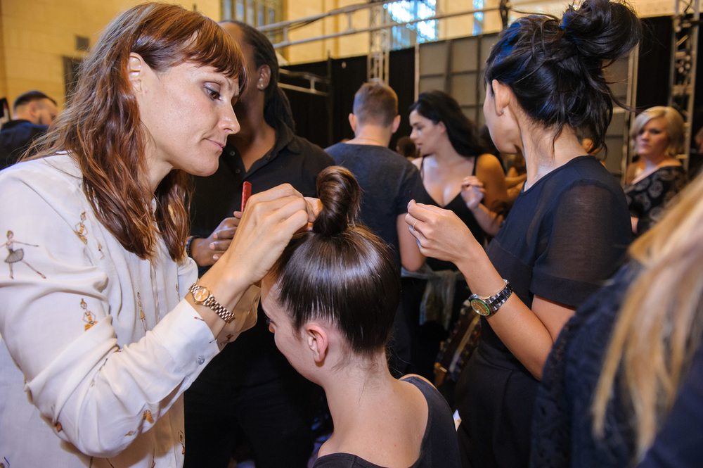 Daniela Schult for Cutler/Redken leading a team of over 30 hairdressers at FTL Moda.