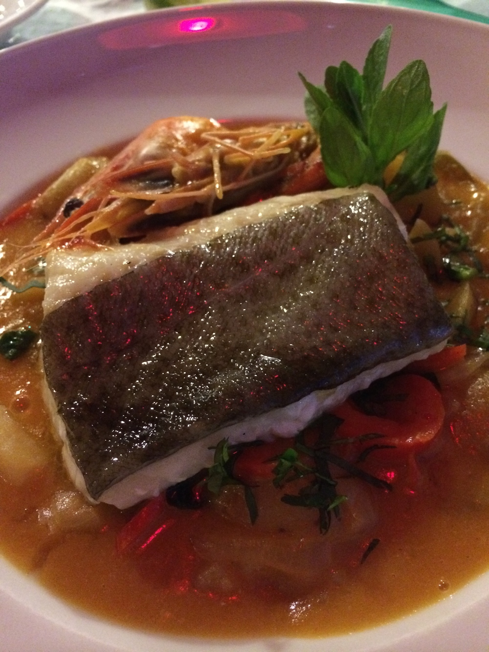 Cod with seafood stew
