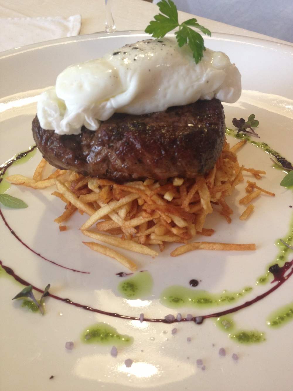 Steak with shoestring fries, Hungarikum Bisztro, Budapest