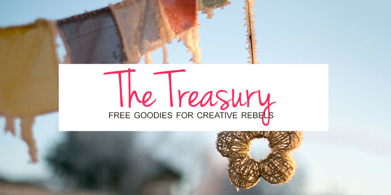 Get your free goodies for creative rebels by signing up for instant access to The Treasury. See you on the other side! :)