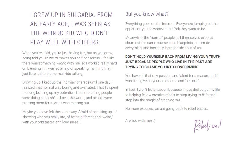 Violeta Nedkova's rebel story.