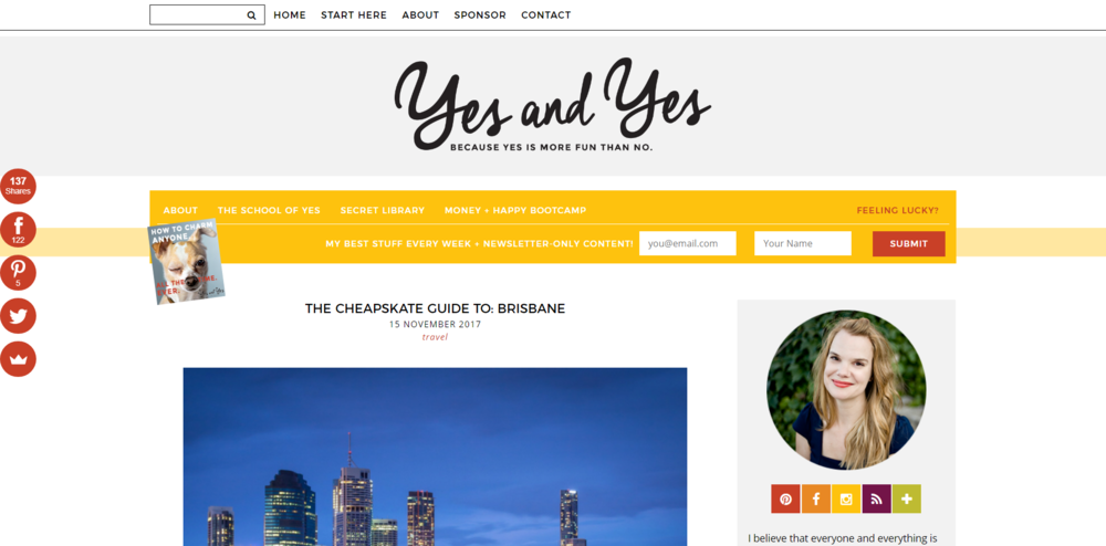 """Sarah von Bargen's """"yes and yes"""" lifestyle blog for smart and funny people who need more depth."""