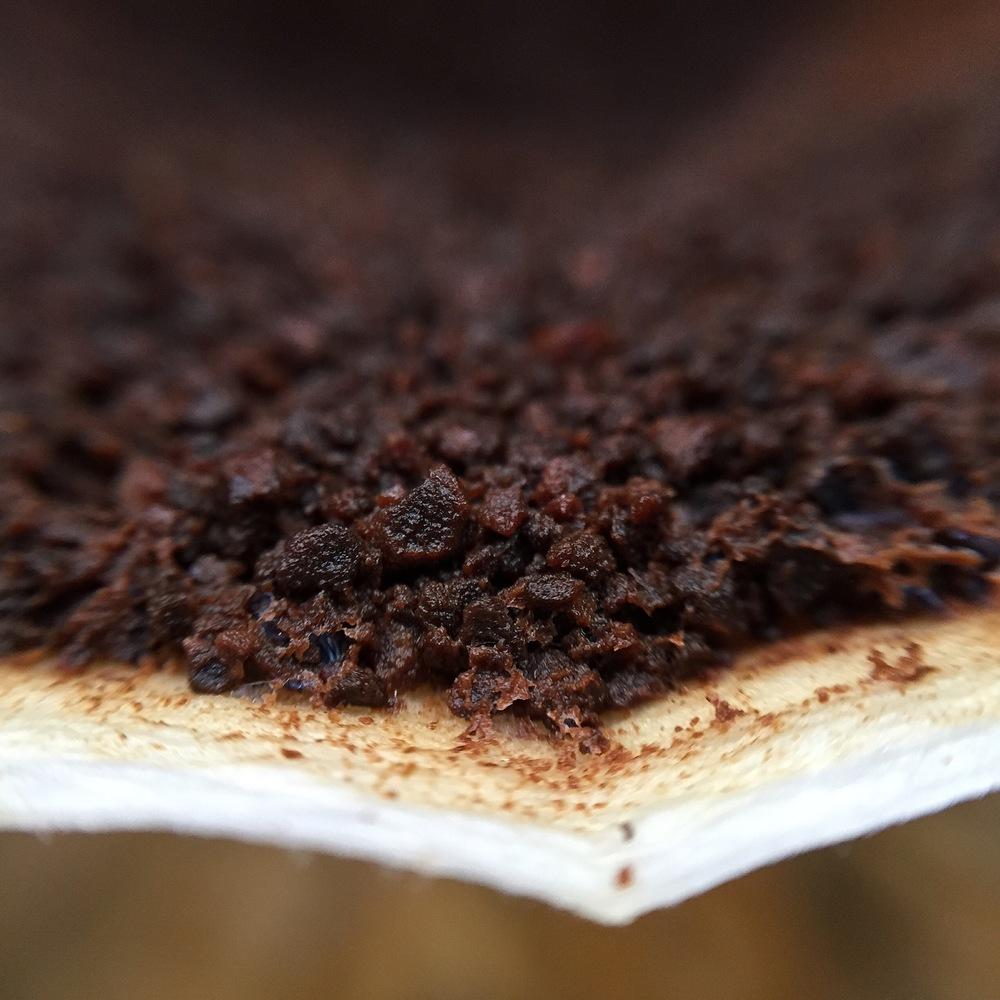 Camada de partículas de sementes de café torradas e moídas após passagem de água quente.