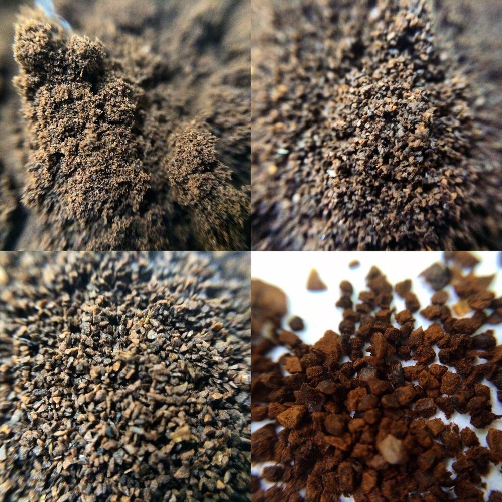 Partículas de café torrado e moído, respectivamente, com (da esquerda para a direita, de cima para baixo) 180 micra, 300 micra, 600 micra e 840 micra.