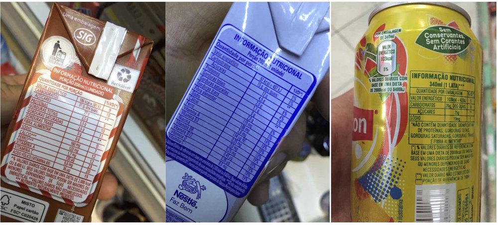 Composição dos produtos: Sódio e Açúcares em altos teores!