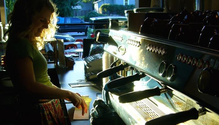Balcão de serviços, Ristretto Coffee Roasters, Portland, OR.