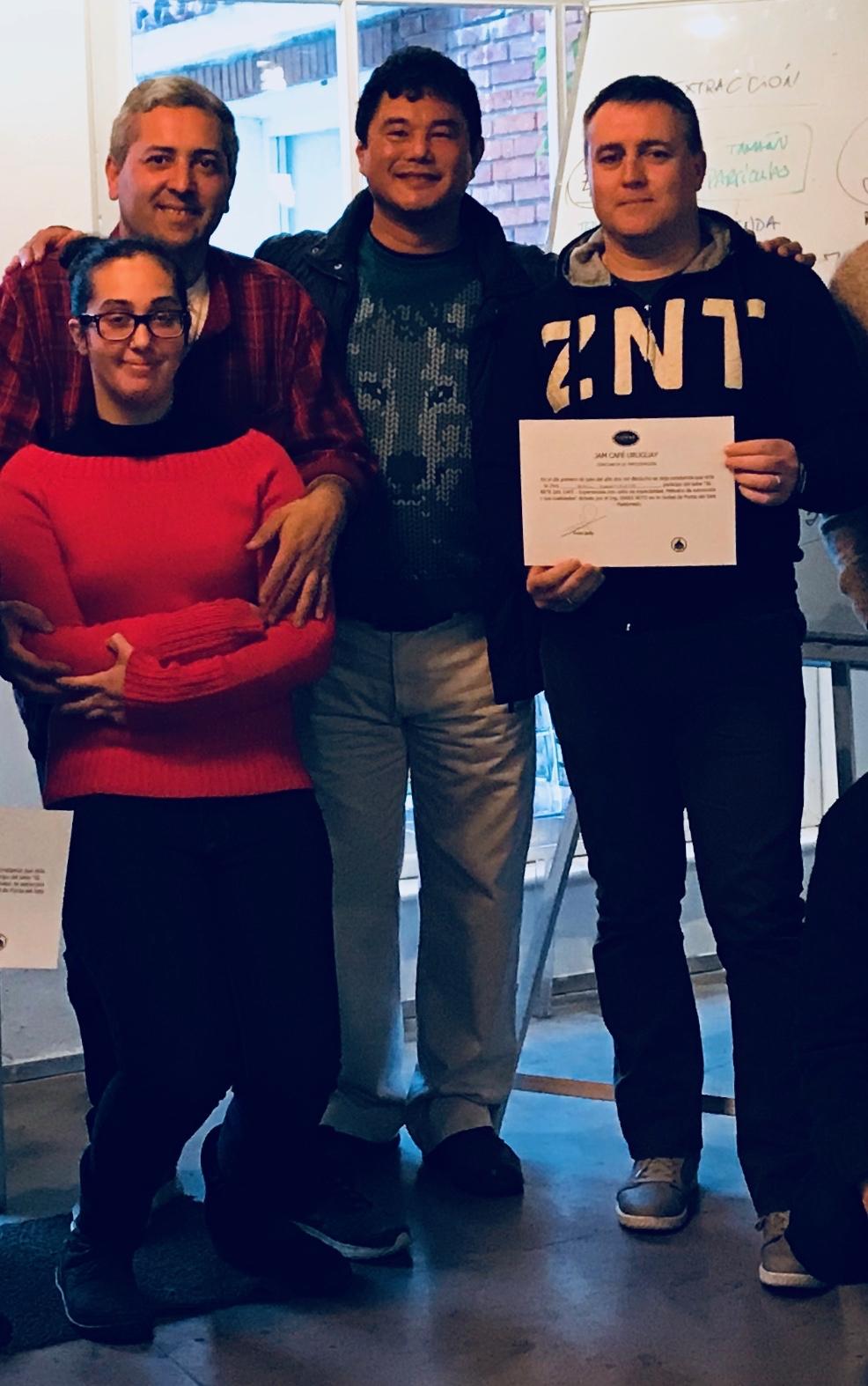 Juan Pablo, barista Candela, Ensei Neto e barista Raul Martirene