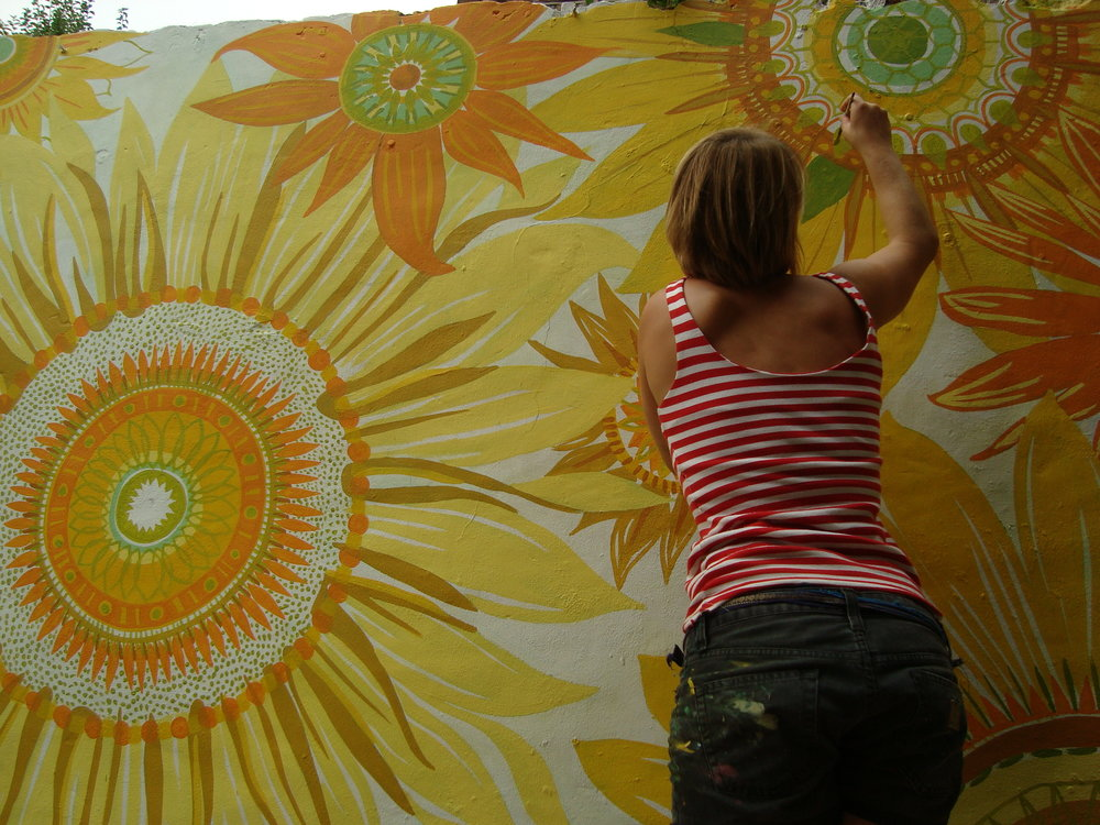 painting sunflowers.JPG